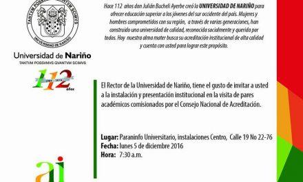 UNIVERSIDAD DE NARIÑO PROCESO DE AUTOEVALUACIÓN INSTITUCIONAL AGENDA VISITA DE PARES