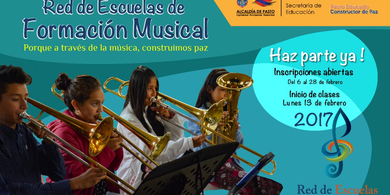 Red de Escuelas de Formación Musical, Abre Inscripciones para la Vigencia 2017