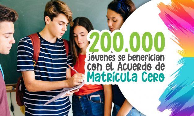 200.000 jóvenes se benefician con el Acuerdo de Matrícula Cero